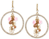 Betsey Johnson Gold-Tone Flower Bouquet and Pavé Circle Drop Earrings
