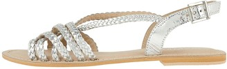 Monsoon Primrose Plait Leather Strappy Sandal - Silver