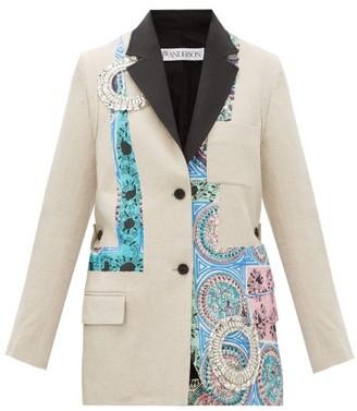 J.W.Anderson Mystic Paisley Crystal-embellished Linen Blazer - Beige Multi