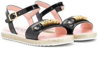 MOSCHINO BAMBINO Patent Open Toe Sandals