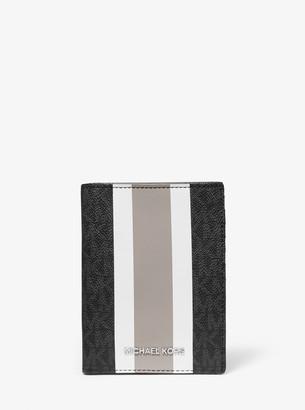MICHAEL Michael Kors Bedford Travel Medium Logo Stripe Passport Wallet