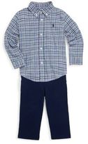 Ralph Lauren Baby's Three-Piece Plaid Cotton Collared Shirt, Trousers & Belt Set