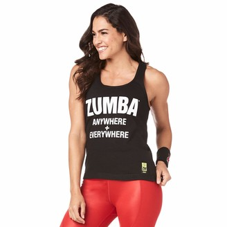 Zumba Fitness Zumba Black Loose Graphic Print Dance Tank Tops Active Workout Tops for Women