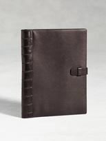 John Varvatos Large Calfskin Notebook Cover With Crocodile Detail