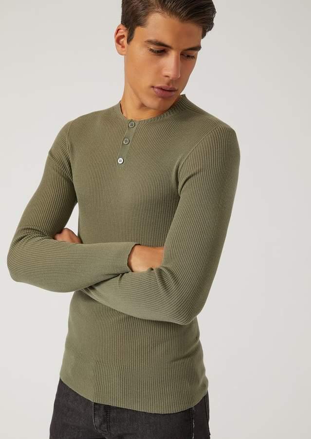 Emporio Armani Sweater In Lightweight Virgin Wool Knit