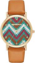 Arizona Womens Gold Tone Chevron Dial Brown Strap Watch