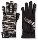 Isotoner Gloves Black Grey Solid