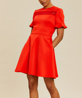 Ted Baker Women's Casual Dresses RED - Red Lace-Contrast Calizee Fit & Flare Dress - Women