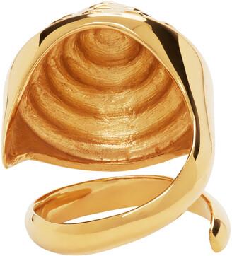 Jean Paul Gaultier SSENSE Exclusive Gold Alan Crocetti Edition Cone Bra Knuckle Ring