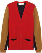Marni Color-block Wool Cardigan - Red