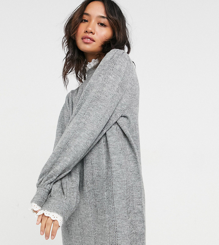 ASOS DESIGN Petite knitted dress with lace detail in grey