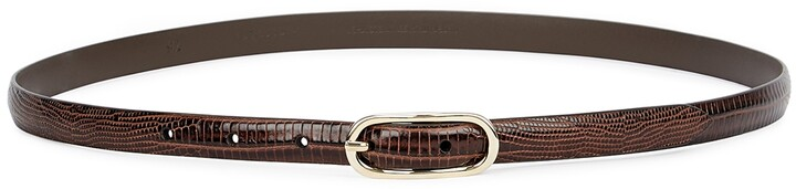 Thumbnail for your product : Andersons Brown Lizard-effect Leather Belt