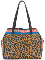 Etro leopard print and floral tote bag