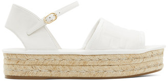 Fendi White Leather Platform Espadrilles