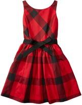 Polo Ralph Lauren Poly Taffeta Plaid Fit and Flare Dress (Big Kids)