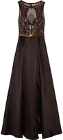 Badgley Mischka Embellished satin and tulle gown