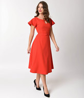 Unique Vintage Vintage Diva 1940s Style Red Stretch Cap Sleeve Cherie Swing Dress