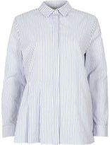 River Island Woblue Stripe Print Pleated Shirt