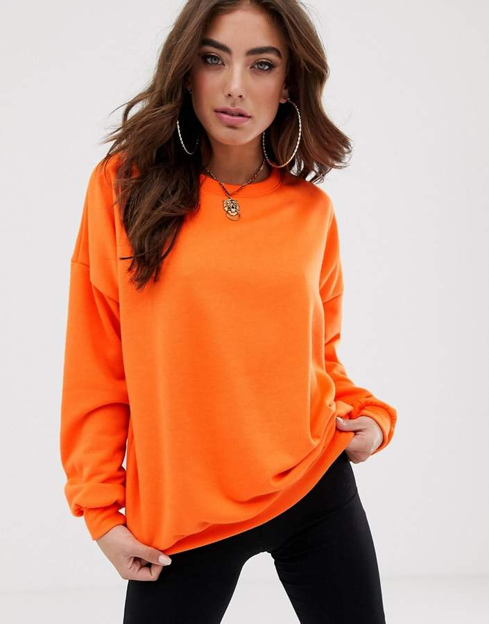 Asos Design DESIGN oversized sweatshirt in neon orange