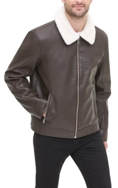 Tommy Hilfiger Men's Faux Leather Jacket with Removable Sherpa Collar