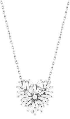 Suzanne Kalan Mini Baguette Diamond Heart Necklace in 18K White Gold