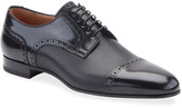 Christian Louboutin Men's Eygeny Brogue Paneled Leather Derby Shoes