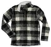 True Grit Men's Soft Melange Solid and Plaid Blanket 1/4 Zip Pullover