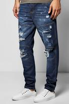 Boohoo Tapered Fit Panelled Jeans With Extreme Rips