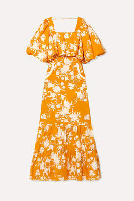 Johanna Ortiz Listen To Your Heart Ruffle-trimmed Printed Cotton-poplin Maxi Dress - Orange