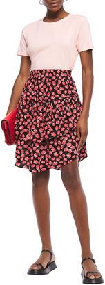 Ganni Tiered Floral-print Crepe Mini Skirt