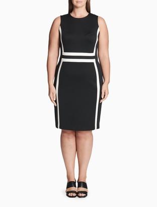 Calvin Klein Plus Size Colorblock Scuba Sheath Dress