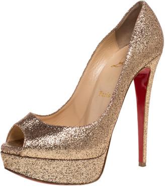 Christian Louboutin Gold Glitter Lady Peep Toe Platform Pumps Size 38.5