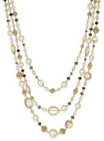 Charter Club Gold-Tone Multi-Bead Three-Layer Necklace, Created for Macy's