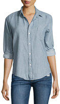 Frank And Eileen Barry Flannel Oxford Shirt, Light Washed Indigo