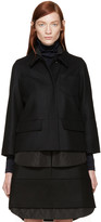 Jil Sander Navy Black Double Layer Wool Jacket
