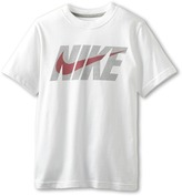 Nike Kids Swoosh Short-Sleeve Tee (Little Kids/Big Kids) (White/Dark Grey Heather) - Apparel