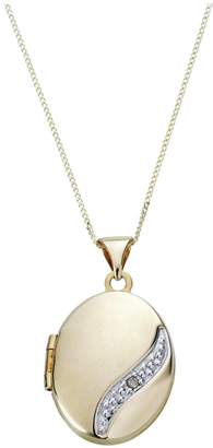 Moon & Back 9ct Gold Diamond Accent Locket 18 Inch Necklace