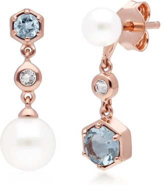 Gemondo Mismatched Pearl, White & Blue Topaz Earrings in Rose Gold Plated Silver