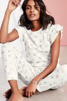 Next Womens Ecru Teacup Ruffle Sleeve Pyjamas