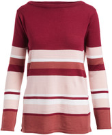 Evelyn Taylor Women's Pullover Sweaters Burgundy/Blush - Burgundy & Blush Stripe Boatneck Sweater - Women