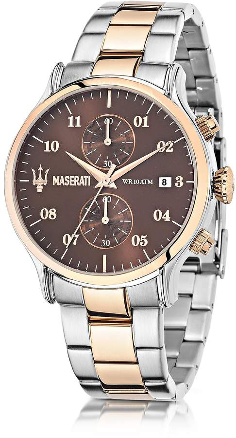 Epoca Maserati Brown Dial Two Tone Stainless Steel Men's Watch