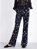 Self-Portrait Floral-embellished wide-leg tulle trousers