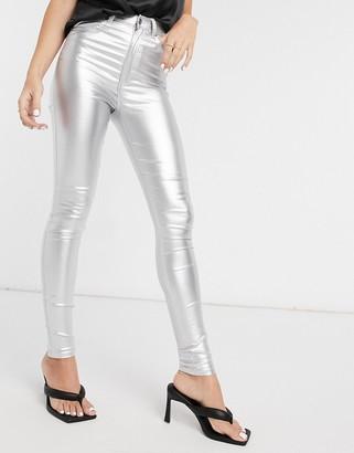 Dr. Denim Moxy skinny jeans in silver metallic