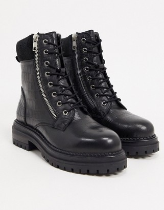 Dune rebel leather lace up chunky hiker boots in black croc