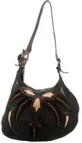 Fendi Leather & Stingray-Embellished Suede Selleria Hobo
