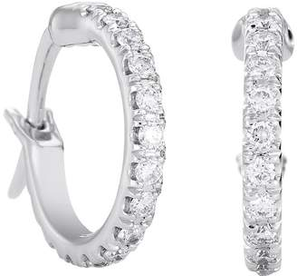 De Beers Small White Gold and Micropave Diamond Hoop Earrings