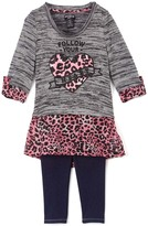 XOXO Charcoal & Pink Leopard Dress & Navy Leggings - Girls