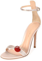 Gianvito Rossi Strass Cherry Ankle-Wrap 105mm Sandal, Pink