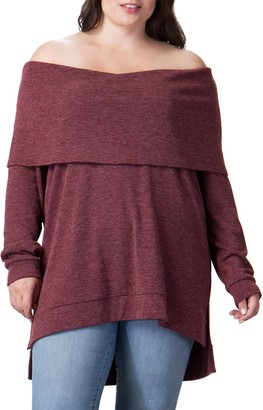 A.Calin Off-the-Shoulder Pullover Sweater (Plus Size)