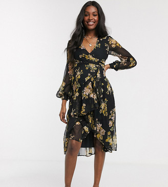 ASOS DESIGN Maternity wrap waist midi dress with double layer skirt and long sleeve in black floral print